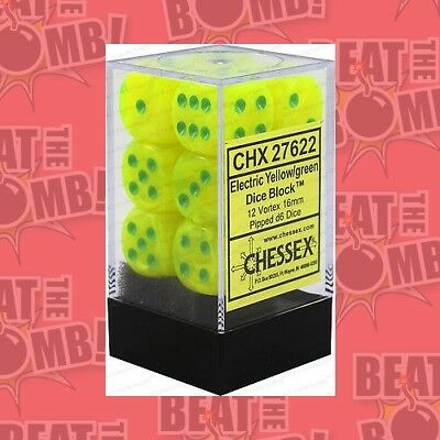 D6 Dice Vortex 16mm Bright Electric/yellowgreen (12 Dice In Display  - BRAND NEW