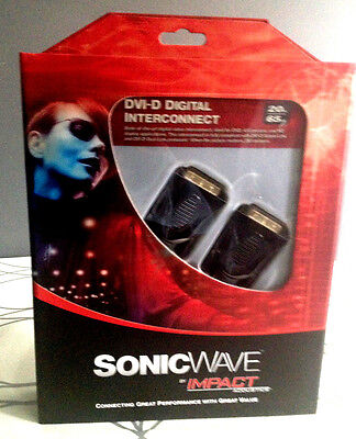 LOT of 10 Packaged DVI-D Digital cable Sonic Wave by Impact Acoustics 6.5 ft/2M