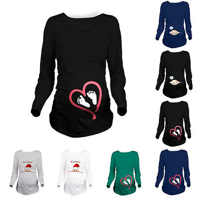 Christmas Pregnant Women Long Sleeve Loose Tops Casual Blouse Maternity T-Shirt