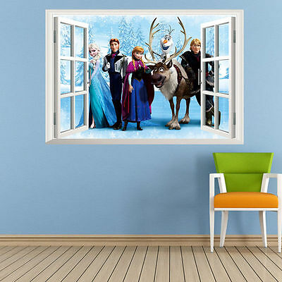 Large Frozen Elsa Anna Wall Stickers Decals Removable Home Decor Kids Xams  Gift