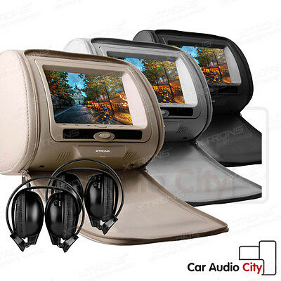 """2 X 7"""" CAR Headrest Dual Twin Screen Monitor DVD Player GAME + Headset Ford VW"""