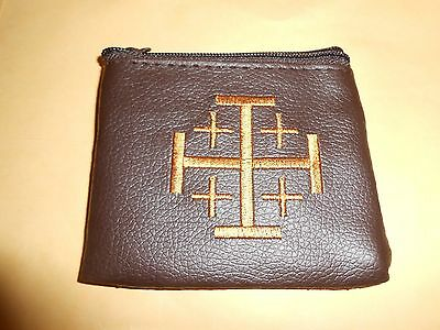 Soft Brown Embroidered Vinyl Zipper Rosary Case