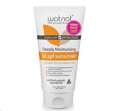 WOTNOT Sunscreen SPF 30+ Natural Eco Family All Skin Types Organic 150g 5.29oz