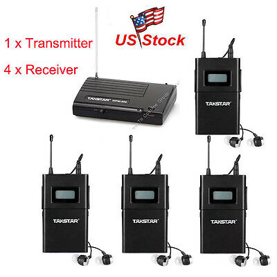 WPM-200 In-Ear Professional Stage Wireless Monitor System Transmitter 4 Receiver