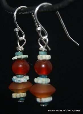 Ancient Egyptian Carnelian & Mummy Bead Earrings -  Circa 300 B.c !! Charming!
