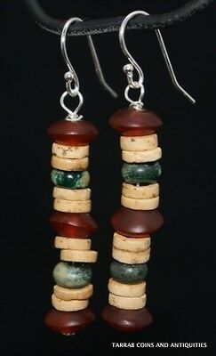 Ancient Roman Glass & Egyptian Carnelian & Mummy Bead Earrings; 300 Bc - 100 Ad