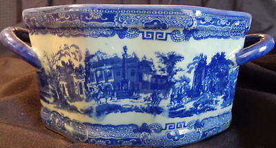 Vintage Victoria Ware  Ironstone Flow Blue Town Scene Bowl