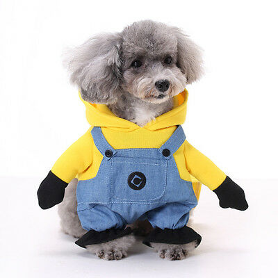 Small Pet Cloth Christmas Dog Minions Costume Winter Clothes Puppy  Coat