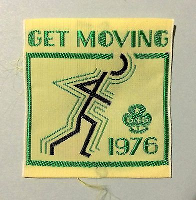 """NEW"" 1976 Girl Guides  Australia cloth patch 'Get Moving' 5 x 5.5 cm"
