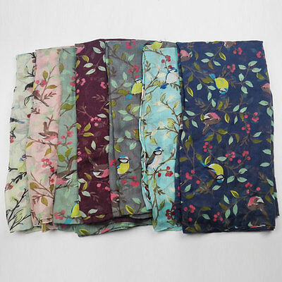 Women Soft Long Voile Large Scarf Wrap Lady Shawl Leaves Birds Printed Pashmina