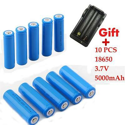 2/4/10X 18650 Li-ion 5000mAh 3.7V Rechargeable Battery for LED Torch Flashlight
