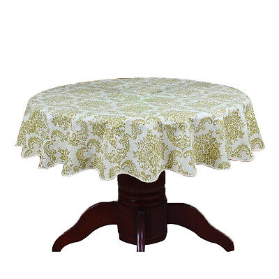 Round Table Cloth PVC Plastic Table Cover tablecloth Waterproof 180cm #2 BT