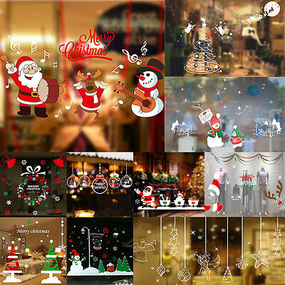 Christmas Santa Snowman Tree Snowflakes Wall Window Stickers Papers Decal Mural