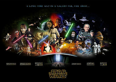Sticker Autocollant/poster/laminated/magnet/cadre A4.star Wars All Persos Movie