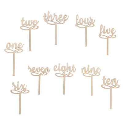 10 Wooden Wedding Table Number Stand Place Name Memo Card Holder One-Ten