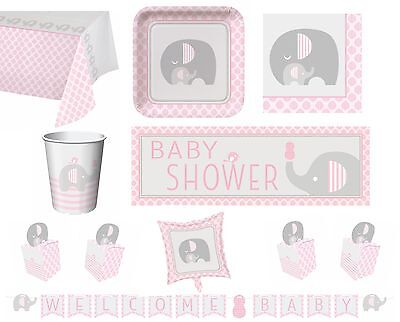 Girl Girls Baby Shower Party Tableware Decorations Pink & Grey - Little Peanut