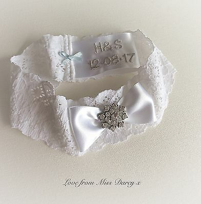 Garter Bridal Wedding White Blue Personalised Miss Darcy Diamante Brides Hen