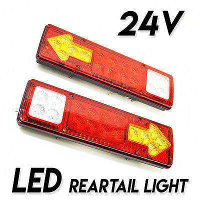 Set Of 2 Led Rear Tail Lights Truck Trailer Lorry Chassis Tipper Tow Truck 24V