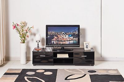FoxHunter High Gloss MDF TV Cabinet Unit Stand Black Home Furniture TVC03 160cm