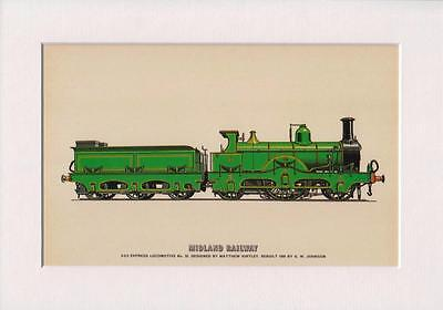 Midland Railway  2-2-2 Express Locomotive A4 Mounted Print