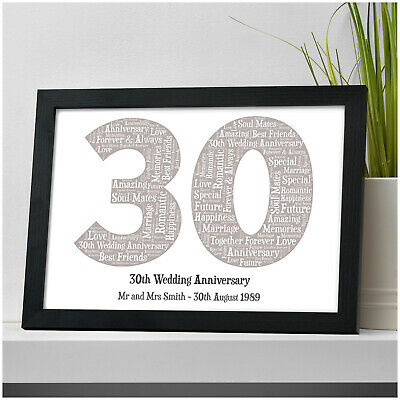 Personalised 30th Wedding Anniversary Gift Pearl Anniversary Word Art Print