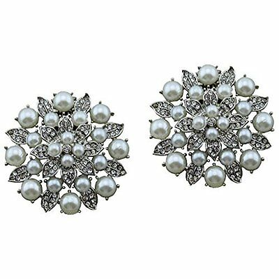 """Silver Jewelled Shoe Clips, Shoe Embellishments, Brooches (1 Pair) """"Isobel"""""""