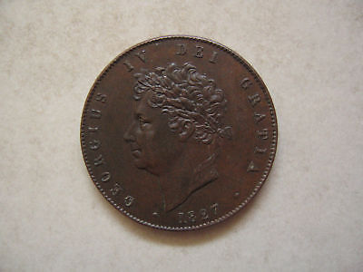 Copper Halfpenny 1827 Coin King George Iv Extremely Fine Grade