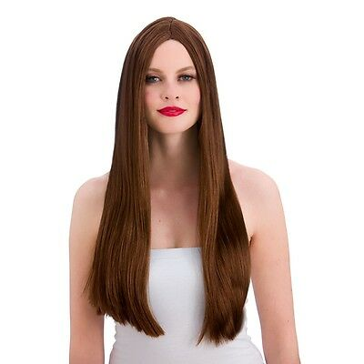 Long Brown  Straight Wig  with Center parting