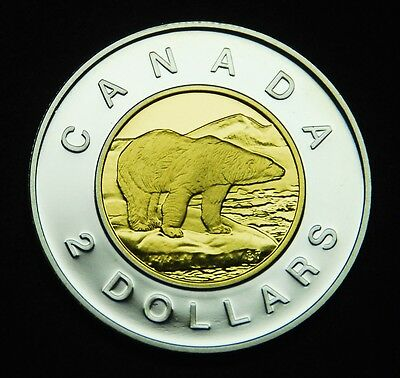 1998 $2 proof silver .925% gold-plated inner core - shows brilliantly