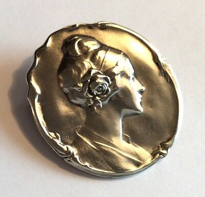 Large Art Nouveau 800 silver brooch w woman's profile & rose in hair, signed CD