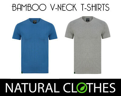 5e4032a8291 Bamboo T-Shirt V-Neck Short Sleeve Top Tee Mens Premium Natural Clothes