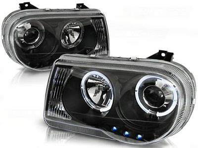New Set Headlights Lpch10 Chrysler 300C 05-10 Angel Eyes Black
