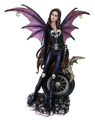 """22"""" Height Gothic Fairy with Skeletal Dragon Figurine Fantasy Meadowland Statue"""