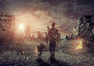 Sticker Autocollant/poster/laminated/magnet/cadre A4.fallout 4 Heros & Dog.
