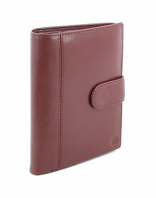 New Smart Genuine Sheep Leather Family Size Passport Travel Wallet/Holder Ruby