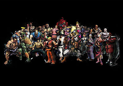 Sticker Autocollant/poster/laminated/magnet/cadre A4.street Fighter 4 All Persos