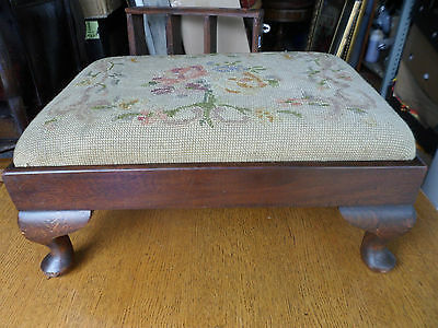 Antique Edwardian tapestry footstool with cabriole legs and original fabric