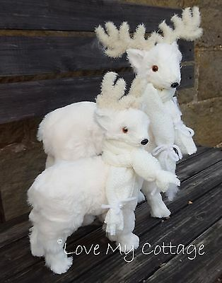 Set 2 Gorgeous Plush Frosty White Christmas Reindeer Stag Standing Decoration