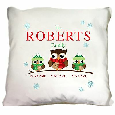 Personalised Christmas Owl Family of 2 3 4 Pillow Cushion Xmas Homeware Present