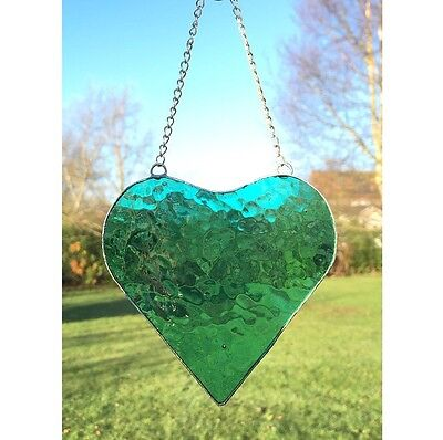 Handmade Stained Glass Heart Suncatcher Turquoise Textured Green Glass