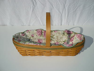 """Longaberger Handwoven Oval Basket w/ Handle Protector Fabric Cover 12.5"""" x 6"""""""