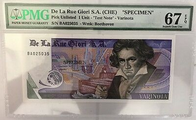 Test Note De La Rue Giori S.A. Switzerland Beethoven PMG 67 EPQ Superb Gem UNC