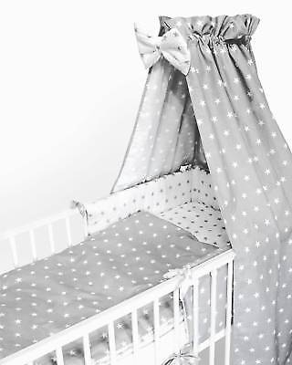Curtains/2/3/5/6 Pcs Baby Bedding Set 120x90or135x100 or150x120-Stars White/Grey