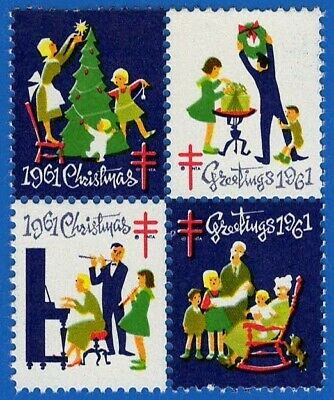 1961 (WX209) Block of 4 (Getting Ready for Christmas) US Seals/Stamps MNH