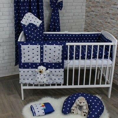 Nursery Baby Bedding Set 2-7 Pcs120x90-135x100-150x120 Stars White/Navy Curtains