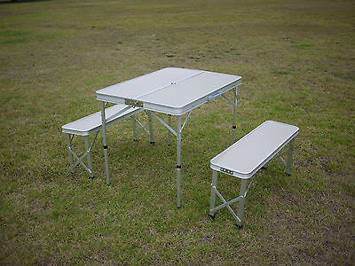 Aluminium Folding Camping Table And Chairs - Seats 4 - Aussie Seller Fast Post