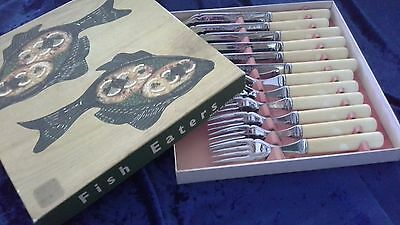 vintage faux bone handled knives forks fish set boxed ENGLAND x 6 of each