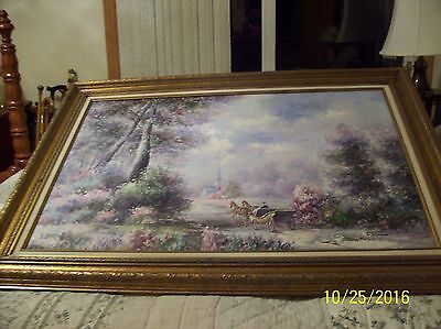 F. Raffaelli Signed Oil On Canvas Couple In Horse Drawn Wagon In New York Park
