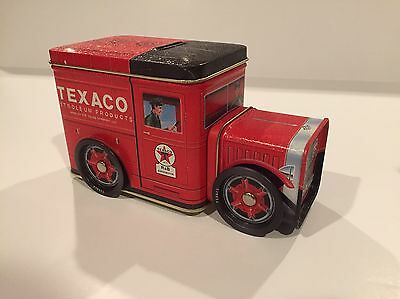 NEW - TEXACO Red Petroleum Truck Tin Coin Bank
