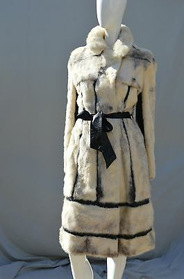 Vintage leather and mink coat trench coat 70's long MINT glam fur coat